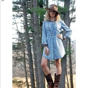 Tasha Polisario denim ruffle jumper dress tunic
